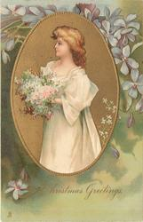 CHRISTMAS GREETINGS oval inset  pretty girl with golden hair in white gown holds large bouquet, faces left