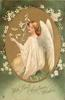 WITH BEST CHRISTMAS WISHES  or A HAPPY NEW YEAR gilt oval inset angel faces left holding lily