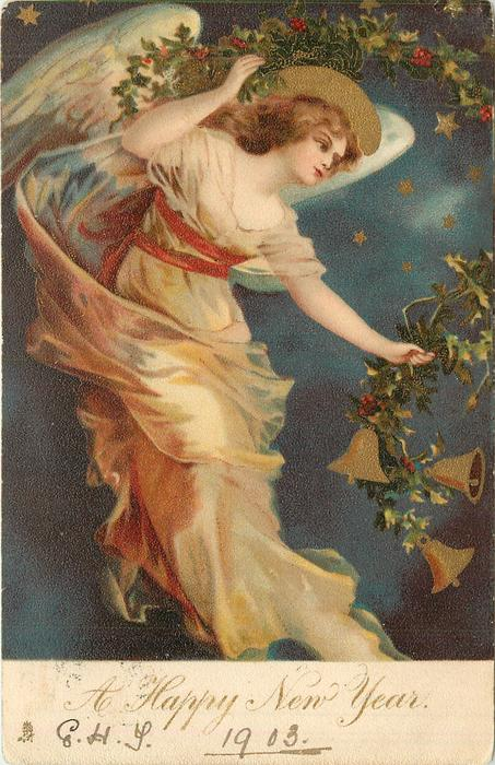A HAPPY NEW YEAR  angel floats facing down & right carrying skein of holly with bells