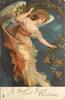 A BRIGHT AND HAPPY CHRISTMAS angel floats facing down & right carrying skein of holly with bells
