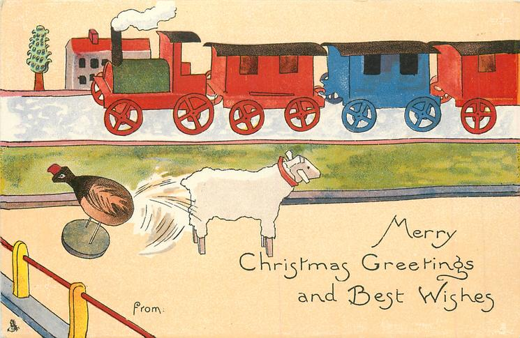MERRY CHRISTMAS GREETINGS AND BEST WISHES  wooden train behind, wooden lamb & chicken in front