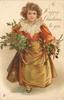 A HAPPY CHRISTMAS TO YOU  brown haired girl in lace trimmed red outfit stands with holly bunches in both hands