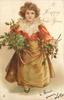 A HAPPY NEW YEAR  brown haired girl in lace trimmed red outfit stands with holly bunches in both hands