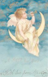 A HAPPY NEW YEAR  angel sits on moon playing trumpet