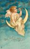 WITH BEST CHRISTMAS WISHES  angel sits on moon playing trumpet