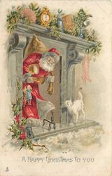 A HAPPY CHRISTMAS TO YOU  Santa greeted by white cat after coming down chimney