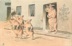 A HAPPY NEW YEAR TO YOU  schoolmaster pig sees three piglets with slates leave school