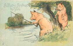A MERRY CHRISTMAS TO YOU  pig fishes, watched by another smoking pipe