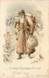A HAPPY CHRISTMAS TO YOU fawn robed Santa carries toy sack in left hand and on back
