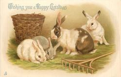 WISHING YOU A HAPPY CHRISTMAS four rabbits, woven basket behind & rake in front
