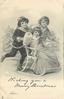 WISHING YOU A MERRY CHRISTMAS  FROM  girl wearing muff sits in chair propelled by boy on skates