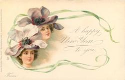 A HAPPY CHRISTMAS TO YOU, FROM  girls faces under violets