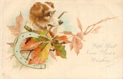 WITH BEST NEW YEAR WISHES  terrier, leaves & horseshoe