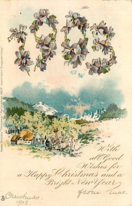 WITH ALL GOOD WISHES FOR A HAPPY CHRISTMAS AND A BRIGHT NEW YEAR  1903 in violets over snow scene