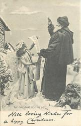 THE CHRISTMAS VISITING LIST Santa & angel look at list