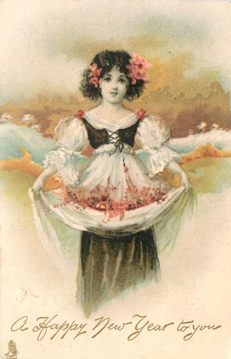 A HAPPY CHRISTMAS TO YOU  girl in white dress, black top,holds flowers in skirt, gilt behind