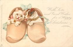 WITH LOVE AND GOOD WISHES FOR A HAPPY CHRISTMAS puppy & kitten in sabots are happy together