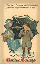 CHRISTMAS GREETINGS    children with umbrella in snow, one child behind umbrella left