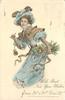 WITH BEST NEW YEAR WISHES  nouveau girl carries small money bag & tray of holly
