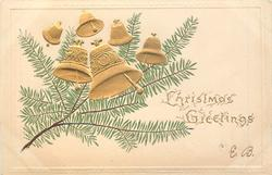 CHRISTMAS GREETINGS six gilt bells above evergreen branch