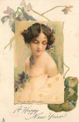 young lady with low cut white dress, ringlet of hair over right shoulder, eyes closed, floral corsage
