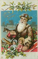 LOVING CHRISTMAS GREETINGS Santa in brown in sleigh full of toys, mistletoe above