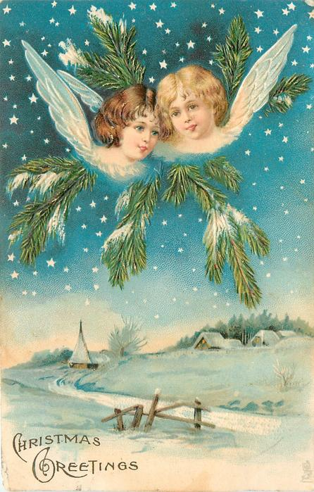 CHRISTMAS GREETINGS two angels above snowy field with three houses in the distance