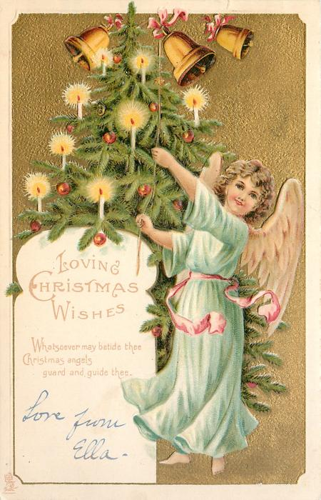 LOVING CHRISTMAS WISHES angel in blue to right of Xmas tree rings bells