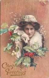 girl with white fur faces forward, fox face visible left of chin, holly surrounds, one sprig of mistletoe