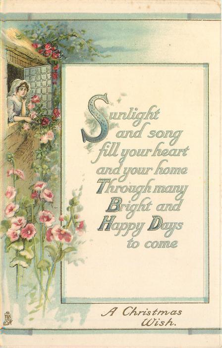 A CHRISTMAS WISH girl leans out window, roses & hollyhocks surround, inset verse
