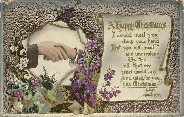 A HAPPY CHRISTMAS  inset handshake with floral surround, scroll right