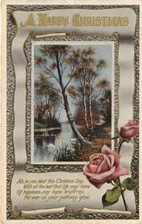 A HAPPY CHRISTMAS  inset water scene with swans, pink rose bottom right