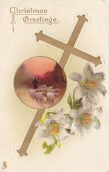 CHRISTMAS GREETINGS gilt cross, sheep inset, Easter lilies