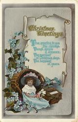 CHRISTMAS GREETINGS girl sits in front of large woven basket, exagerated forget-me-knots