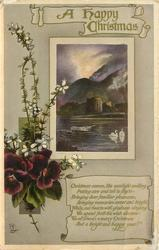 A HAPPY CHRISTMAS inset mountains, castle ruin, swans, row-boat, pansies & white heather on left