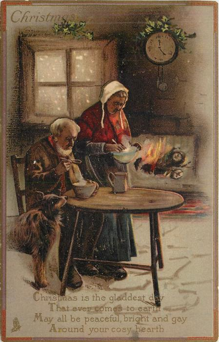 CHRISTMAS GREETINGS elderly couple, man eats soup as woman approaches table, dog looks on