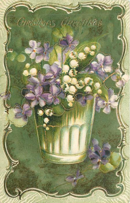 CHRISTMAS GREETINGS  purple violets & white lilies-of-the-valley in white pot