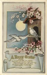 A HAPPY EASTER two doves, one flying another perched, moon, blossoms