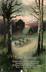 EASTER GREETINGS six sheep in front of church at dusk, trees in foreground