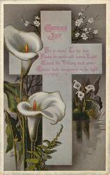 EASTER JOY cross, calla lilies