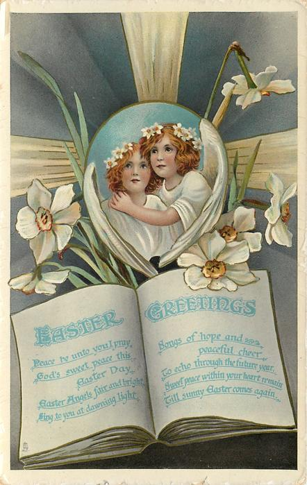 EASTER GREETINGS two angels inset with jonquil headbands, more jonquils surround