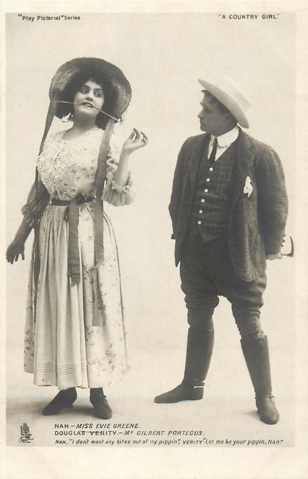 "NAN - MISS EVIE GREENE DOUGLAS VERITY - MR. GILBERT PORTEOUS.  NAN, ""I DON'T WANT ANY BITES OF OF MY PIPPEN"", VERITY ""LET ME BE YOUR PIPPEN, NAN"""