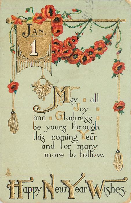 HAPPY NEW YEAR WISHES, red oriental poppies, verse - TuckDB Postcards