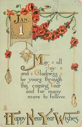 HAPPY NEW YEAR WISHES, red oriental poppies, verse