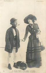 """MR. WALTER PASSMORE AS """"JIM CHEESE"""" (A DOG TRAINER"""". MISS FLORENCE LLOYD AS """"LIZA SHODDAM (HIS SWEETHEART)"""