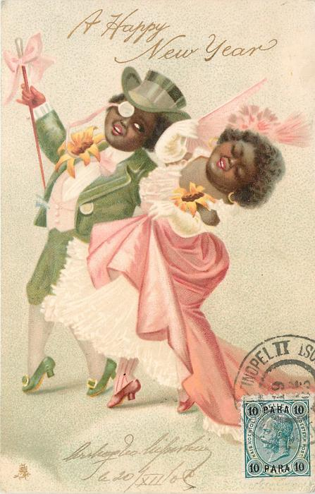 two black people in evening dress, green and pink