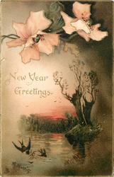 NEW YEAR GREETINGS  two pale orange flowers above, water with two birds in flight lower left corner, two tree stumps right