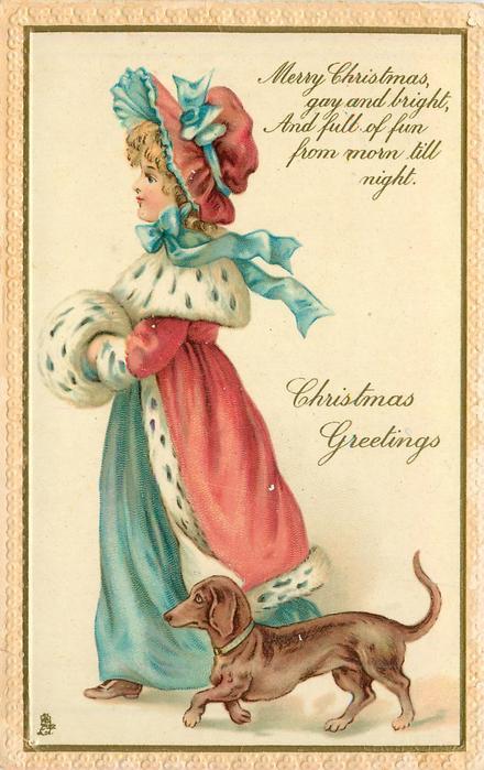 CHRISTMAS GREETINGS girl, dachshund