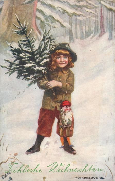 FOR CHRISTMAS DAY.  boy with tree stands in snow, santa mask hangs from his arm