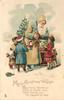 MERRY CHRISTMAS WISHES.   white coated Santa with toys & four children in snow